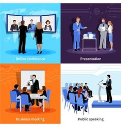 Conference Public Presentation 4 Flat Icons vector image