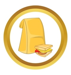 Lunch bag and sandwich icon vector