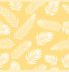 tropical white palm tree leaves seamless pattern vector image