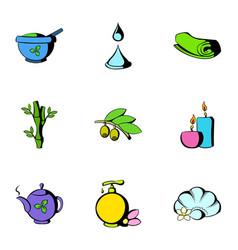 Beauty spa icons set cartoon style vector