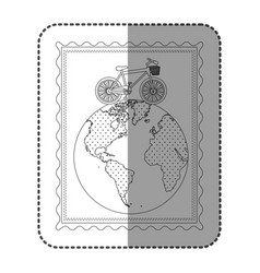 monochrome frame with bicycle over the world map vector image