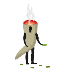 Joint or spliff man mascot promoter male in suit vector