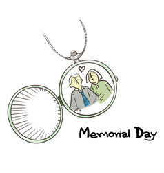 Memorial locket with couple picture in love vector