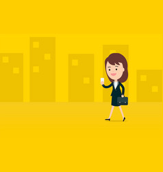 Young business woman use a smart phone vector