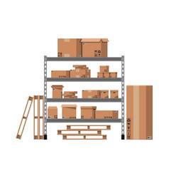 Pile cardboard boxes on shelves vector