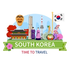 1608i124003sm004c11korea travel composition flat vector