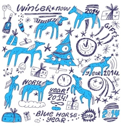Blue horse new year - doodles set vector