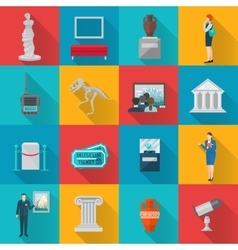 Museum icons flat set vector