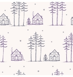 Seamless pattern pine house vector