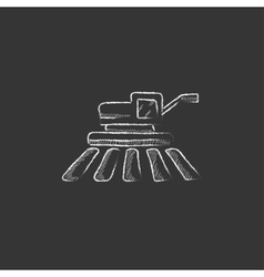 Combine harvester drawn in chalk icon vector