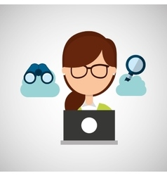 girl working icon vector image