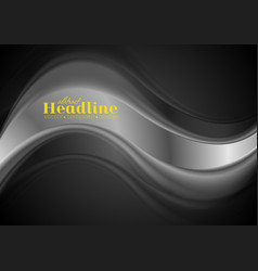 abstract silver wave on black background vector image