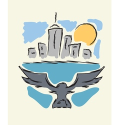 Bird flying to modern city vector