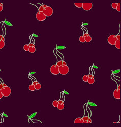 bright seamless pattern with lovely cherries vector image vector image