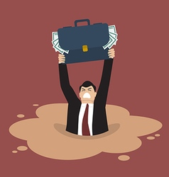 Businessman with briefcase full of money sinking vector image vector image