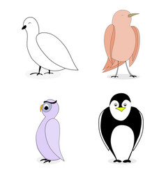cartoon set bird character vector image vector image