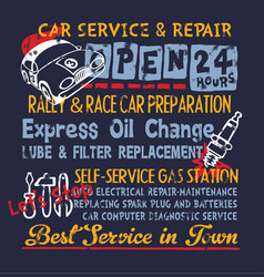 Cute car service and repair gasoline station vector