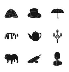 England country set icons in black style Big vector image vector image