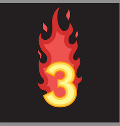 Flaming number three vector