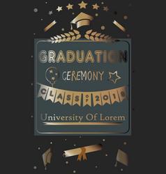 graduation ceremony announcement rich golden vector image vector image