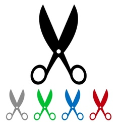 isolated colorful big and small scissors vector image vector image
