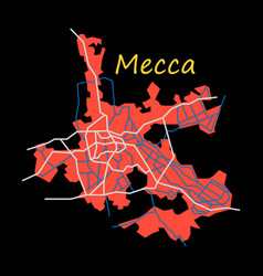 Mecca map saudi arabia flat vector