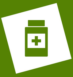 Medical container sign white icon vector