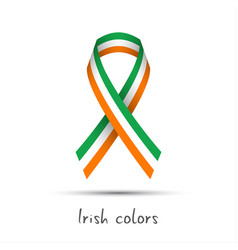 Modern colored ribbon with the irish tricolor vector