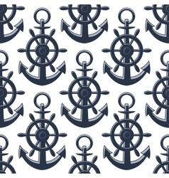 Nautical anchors and helms seamless pattern vector