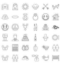 Novel icons set outline style vector