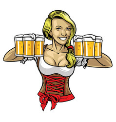 oktoberfest girl holding the beers vector image vector image