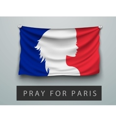 Pray for paris terrorism attack flag france vector