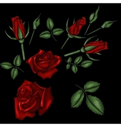 Red roses embroidery vector
