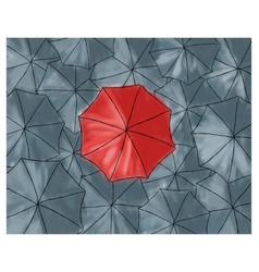 Red umbrella in the grey umbrellas - pattern vector