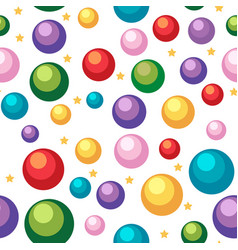 Seamless background template with balls and stars vector