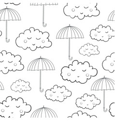 seamless pattern with cute sleeping clouds vector image vector image