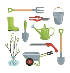 Set of various agricultural tools for garden care vector image