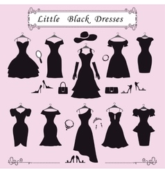 Silhouette of little black party dressesFashion vector image