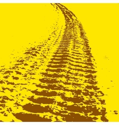 Yellow grunge background with black tire track vector image vector image