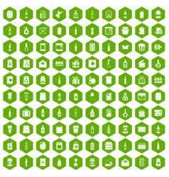 100 packaging icons hexagon green vector