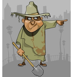 cartoon man in dirty ragged clothes with a shovel vector image