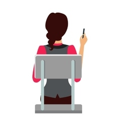 Woman sitting on the chair and pointing by pen vector
