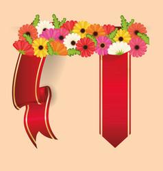 spring flowers ribbon decoration desig vector image