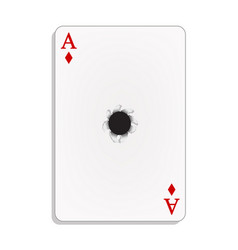 Ace of diamonds with bullet hole vector