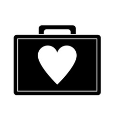 first aid kit emergency heart care pictogram vector image