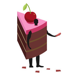Cake costume man mascot promoter male in suit vector