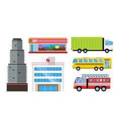 City skyscraper architecture building truck car vector