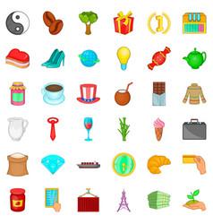 Bean icons set cartoon style vector