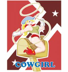 Sexy pin up cowgirl vector