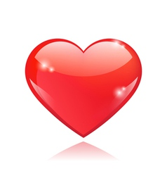 Beautiful red glossy heart shape vector